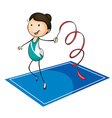 Woman playing ribbon on the mat vector image