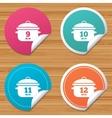 Cooking pan icons Boil nine twelve minutes vector image
