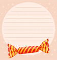 line paper template with sweet candy vector image vector image