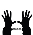 hands in handcuffs silhouette vector image