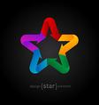 Origami rainbow Star on black background vector image
