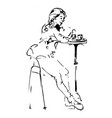 beautiful girl sitting at a table in a cafe with a vector image
