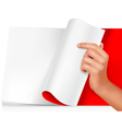 blank sheet of paper with hand vector image