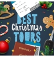 Christmas and New Year vacations travel tours vector image