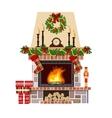 Christmas fireplace Xmas decoreated room vector image