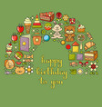 happy birthday card with childrens icon set - toys vector image