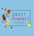 ice-cream menu banner vector image