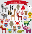 Set of funny cartoon animals on a white background vector image
