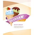 Delicious ice cream vintage poster template vector image