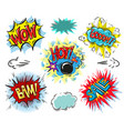 set of comic text pop art comic style vector image
