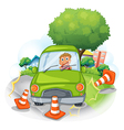 A green car bumping the traffic cones vector image