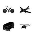 bicycle airplane bus helicopter types of vector image