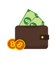 bitcoin and money wallet graphic vector image