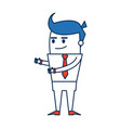 cartoon man business in orange and blue character vector image