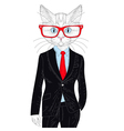 cute cat boy in elegant suit with glasses Hand vector image