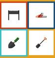 flat icon garden set of spade hacksaw trowel and vector image