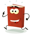 happy red book character running vector image