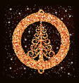 the golden christmas tree vector image