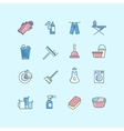 Washing cleaning laundry line color icons vector image
