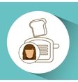 toaster appliance icon bread kitchen female vector image