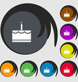 Birthday cake icon sign Symbols on eight colored vector image