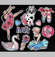 set of ballet stickers patches or elements vector image