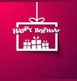 Gift box Happy Birthday invitation card vector image vector image