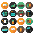 Gardening set circle flat icons vector image