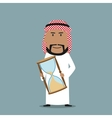 Arabian businessman with time out hourglass vector image vector image
