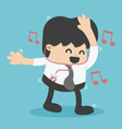 Businessman happy to listen to music in the office vector image
