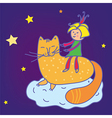 Baby fairytale background with cat vector image