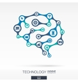 Brain concept with computer technology digital vector image