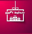 Gift box Happy Birthday invitation card vector image