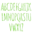 Green alphabet with watercolor texture vector image
