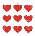 Hearts with bakers twine ribbons and bows vector image