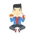 Man eating hamburger vector image
