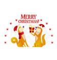 merry christmas postcard template with two cute vector image