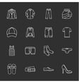 sixteen modern clothes icons vector image