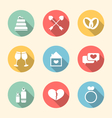 Trendy flat icons for Valentines Day style with vector image