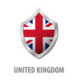 united kingdom flag on metal shiny shield vector image