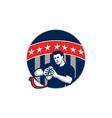 Flag Football QB Player Running Circle Retro vector image