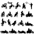 Set of biker motocross silhouettes vector image