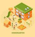 kindergarten building isometric composition vector image