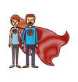color crayon stripe cartoon full body couple super vector image