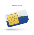 Navassa Island mobile phone sim card with flag vector image vector image