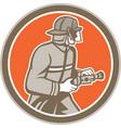 Fireman Firefighter Fire Hose Circle Retro vector image vector image