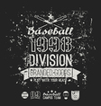 Retro emblem baseball division of college black vector image