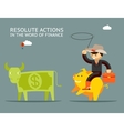 Fundraising concept Businessman on pig catches vector image