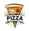 logo slice of pizza and ribbon vector image