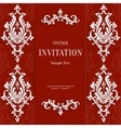 Red Christmas Vintage Invitation Card with vector image vector image